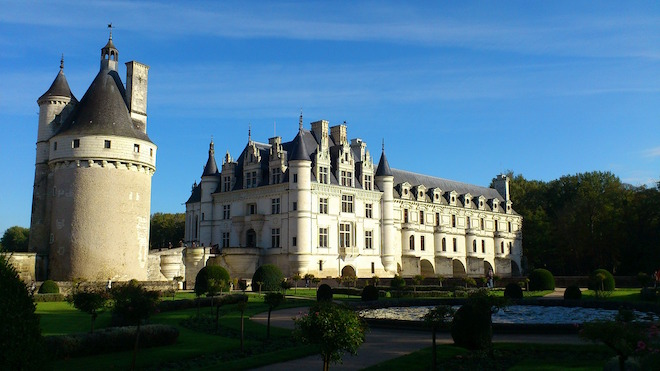 Chateau de Chenonceau rear view from back gardens.