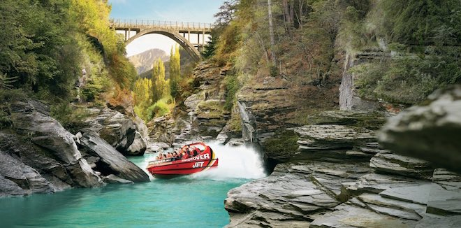 Shotover Jet fun in Queenstown. Image credit Tourism New Zealand.