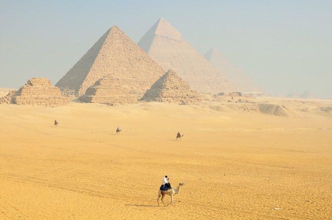 Pyramids outside Cairo, Egypt.