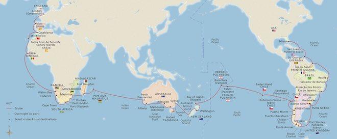 Viking Sun round-the-world map.