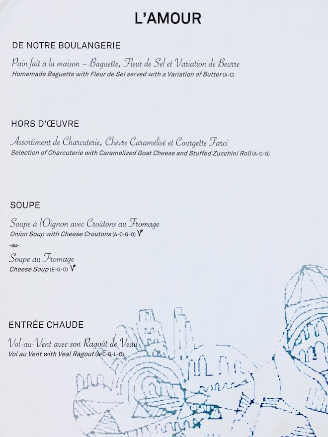L'Amour menu - entree and soup.