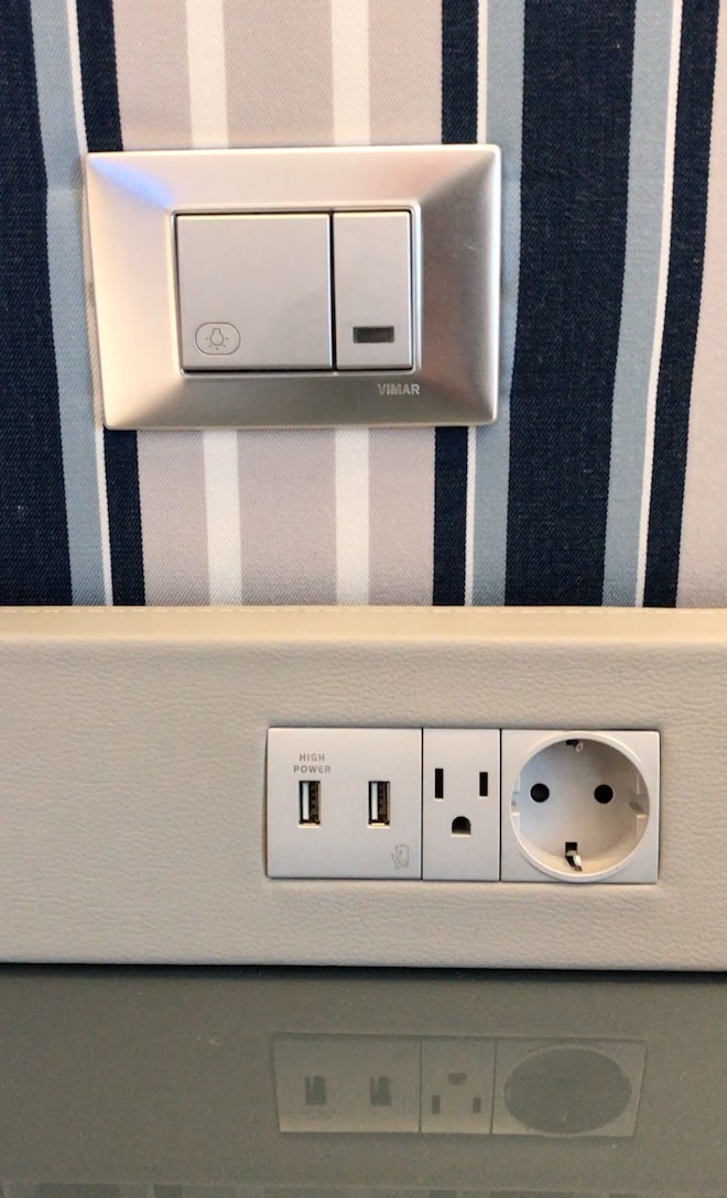 Master light switch, USB ports and electric sockets.
