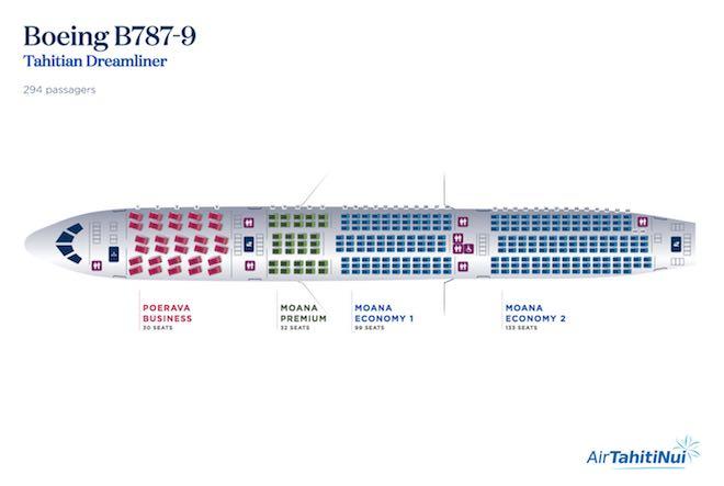 Air Tahiti Nui Boeing 787-9 seat map.
