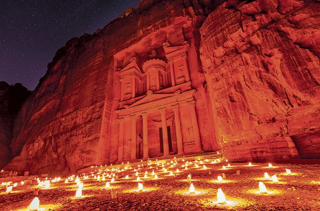 Petra, Jordan by candlelight.