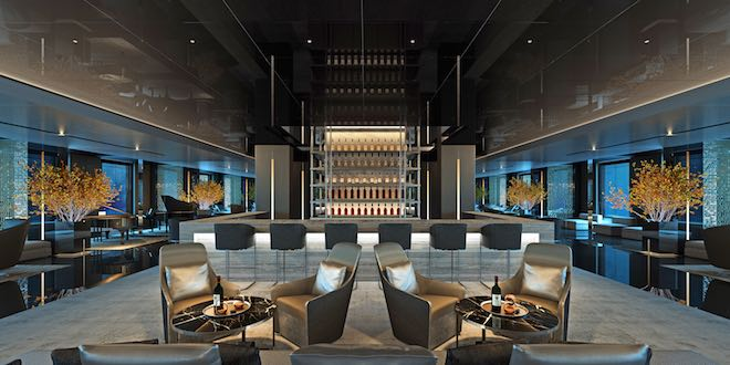 The elegant Scenic Eclipse Lobby Bar.