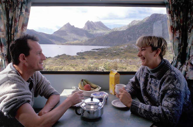 A CLASSIC TASMANIAN VIEW OF CRADLE MOUNTAIN AND DOVE LAKE THROUGH THE PANORAMIC REAR WINDOW OF THE MOTORHOME - IMAGE CREDIT ANDREW MARSHALL