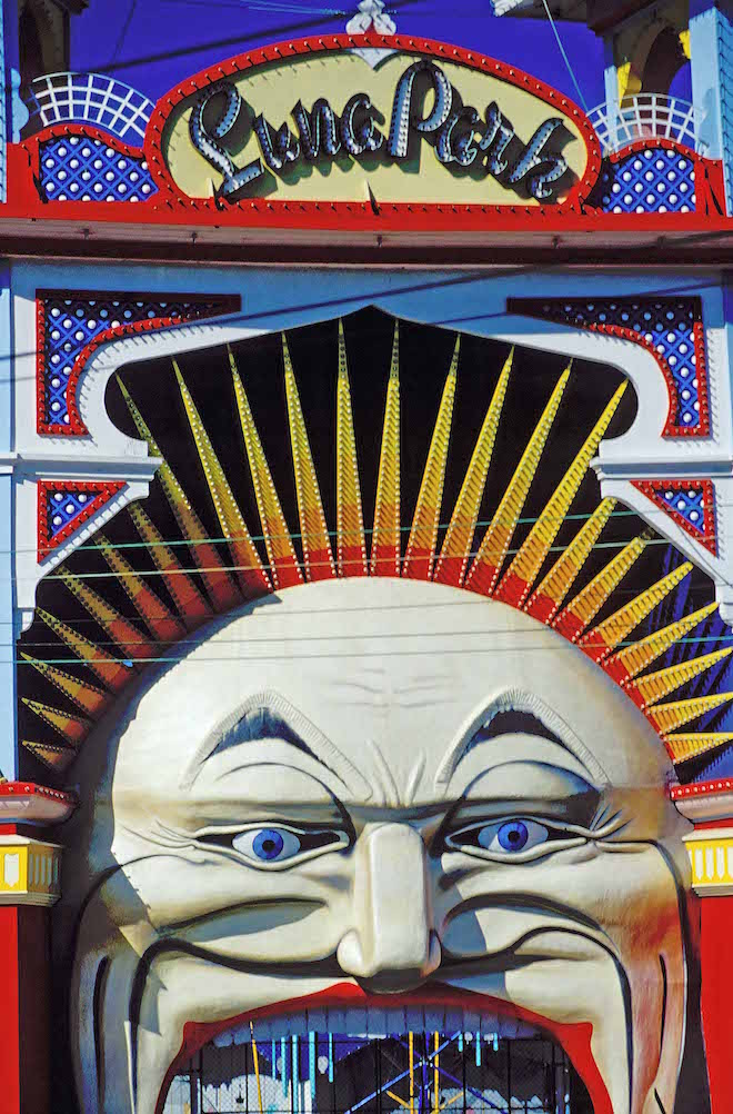 COLOURFUL LUNA PARK ALONG THE ESPLANADE ON ACLAND ST IS ONE OF MELBOURNE_S MOST ENDURING AND EASILY RECOGNISABLE ICONS. ST KILDA-IMAGE CREDIT ANDREW MARSHALL