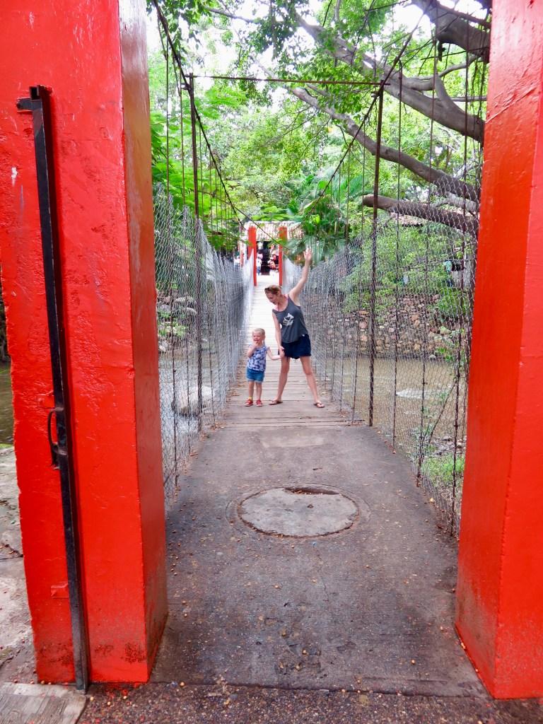 The suspension bridges over Cuale River