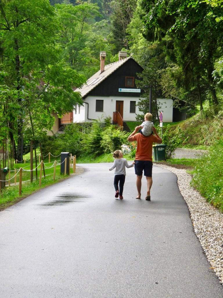 Walking around Lake Bled with kids