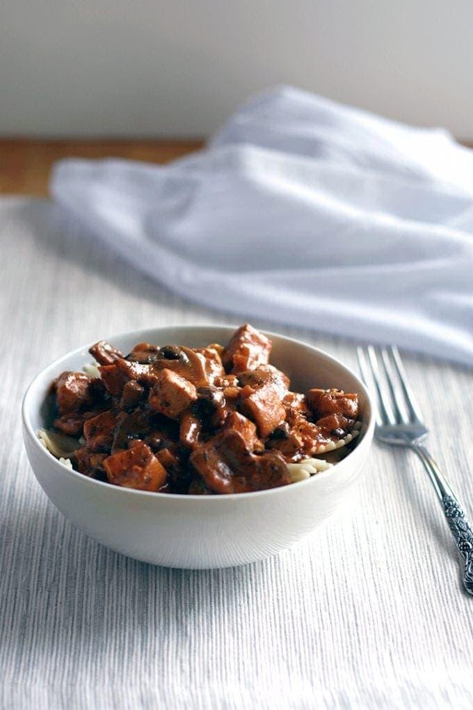 Vegan Mushrooms and Tofu in Paprika Sauce over Noodles