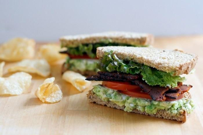 Vegan Tempeh Bacon Lettuce Tomato (BLTA) Sandwich