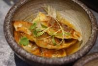 Gyoza, dashi, sauerkraut