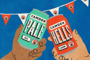 CAMDEN BREWERY HELLS LAGER WE LOVE FOOD ITS ALLWE EAT