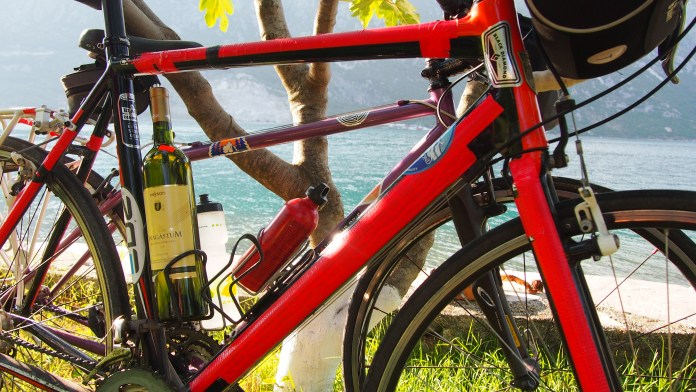 Bike bottle cage with local Montenegro wine