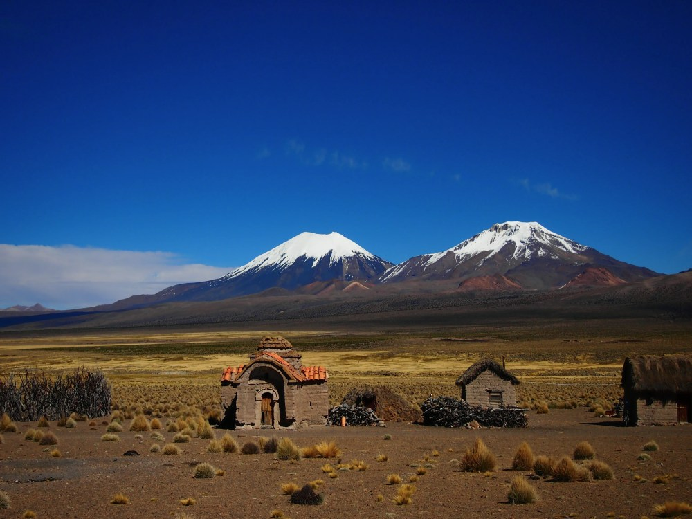 Small mud brick village in depths of Sajama