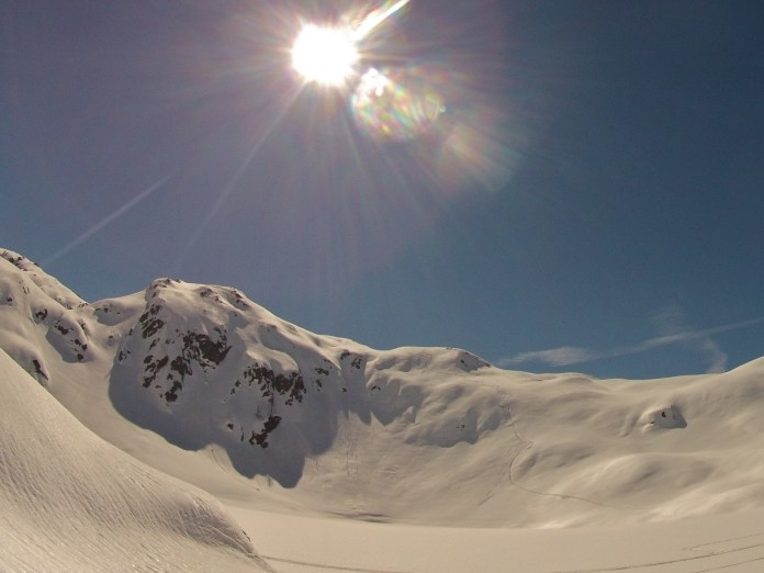 Looking back towards my first line, I then rode the narrow steep couloir in the middle