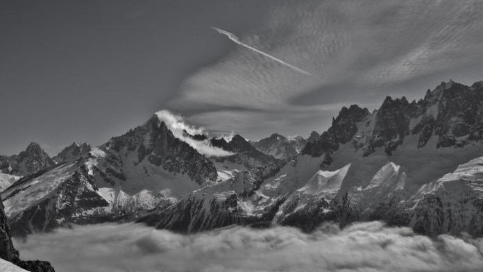 The stunning view from Brevent, across Chamonix towards the Aiguille du Midi
