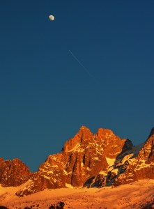 The moon and sunset on the rocks above Montenvers, Chamonix