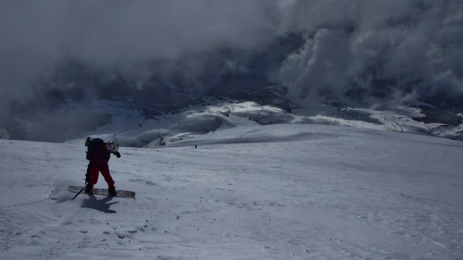 Just above the epic powder, descending from the active crater of Volcan Villericca