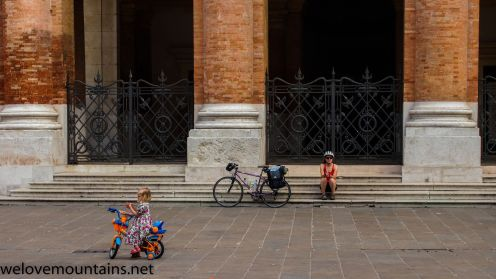 Girls on bikes in Italy