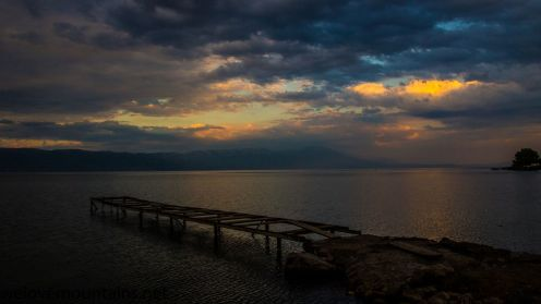 Sunset over Lake Ohrid in Macedonia