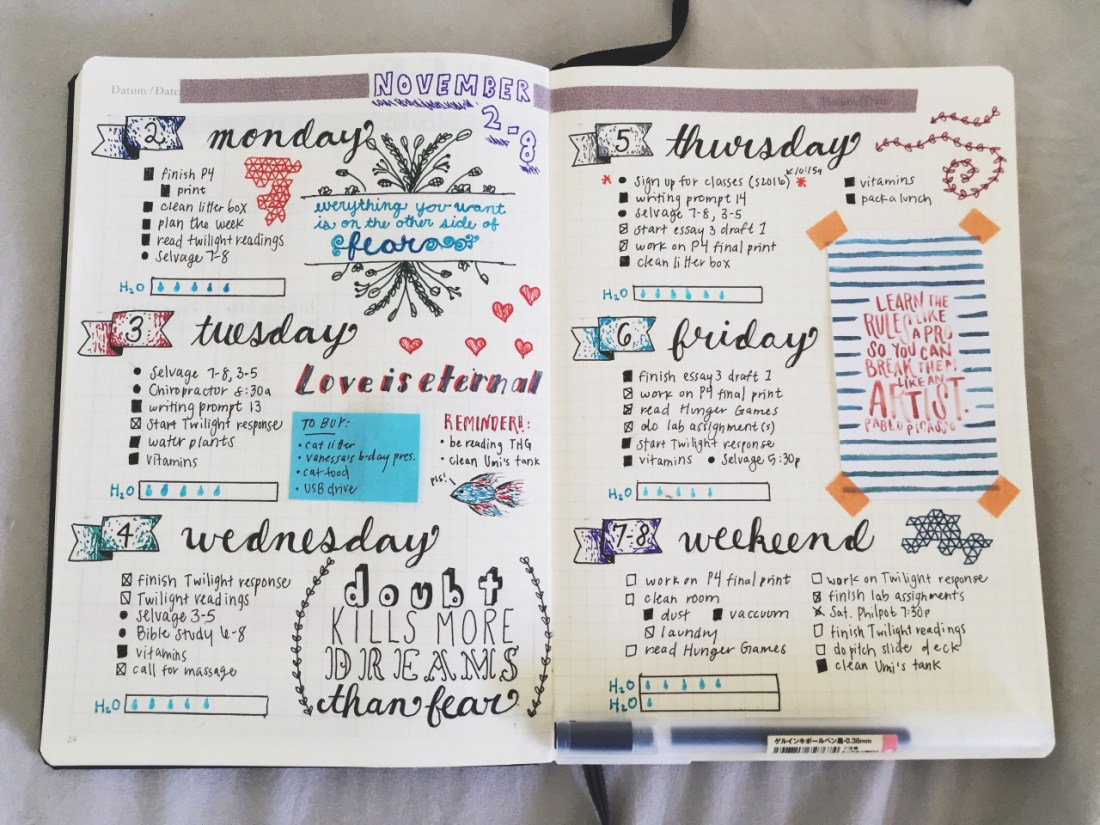 Artsy Bullet Journal Page