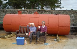 Brenda Craddock & Anthony Gilmour taking a well earned tea break, while the paint dries.