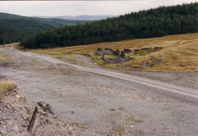 View of the mine, looking towards Esgairfraith, Mine Office on right.