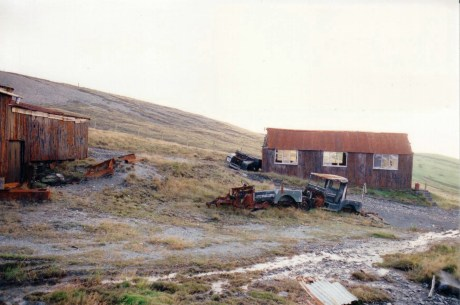 Mine Office with abandoned Land Rovers.