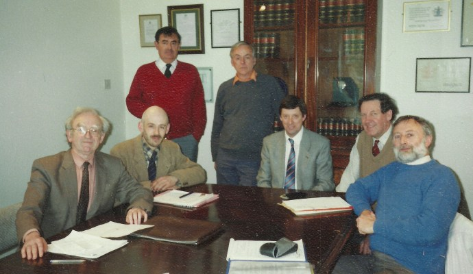 WMPT Founding Directors. Left to Right: The Late David Bick, Simon Hughes, John Bennett, The Late George Hall, The Late Damain Mc Curdy, The Late Jeremy Wilkinson, Rob Vernon.