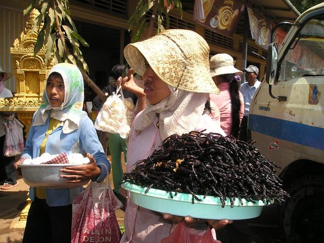 Fritierte Taranteln gibt es auf den Maerkten in Kambodscha