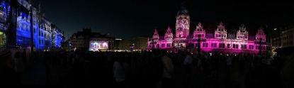 Illumination auf dem Leipziger Markt während der evangelischen Kirchentage
