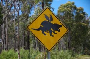 Ein Höhepunkt der Schilderlehre ist der Hinweis auf den fliegenden Tasmanischen Teufel.
