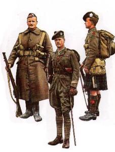 Schottische Infanterie (v.l.n.r.: Highlander NCO, Offizier, Highlander)