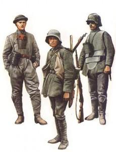 Panzermann, mot.Transport-Battaillon Berlin (Westfront 1918) * Sturmtruppensoldat Inf.Reg.17 (Champagne, Frühjahr 1918) * Infanterist mit Körperpanzerung (Westfront, 1918)