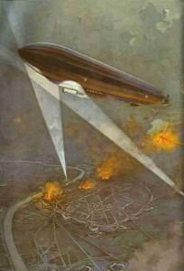 Zeppelin-Kreuzer über Antwerpen