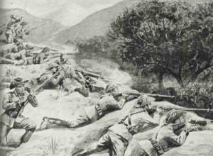 Deutsche Schutztruppe wehrt südafrikanischen Kavallerieangriff ab