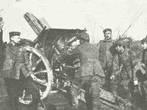 Deutsche 150-mm-Haubitze bei Ypern