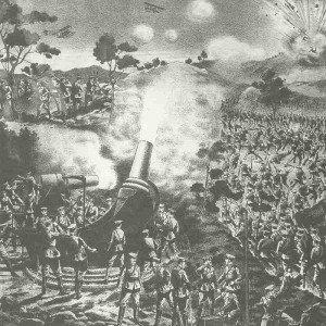Japanische Belagerungsartillerie vor Tsingtau