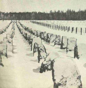 Die russisch-finnische Grenze mit den von deutschen Spezialisten errichteten Panzersperren.