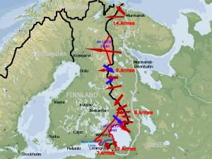 Karte vom Winterkrieg in Finnland