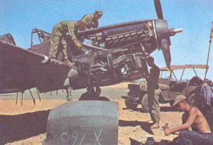 Wartung an einer P-40 F Warhawk