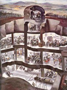 Querschnitt durch eine Bunkeranlage am deutschen Westwall
