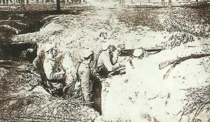 Deutsche Inafnterie im Schützengraben bei Ypern