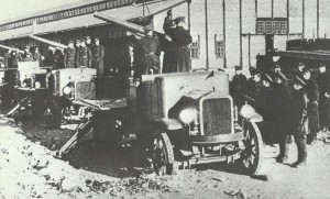 Eine russische motorisierte Artillerieabteilung