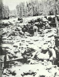 Trümmer der russischen 44. motorisierten Division
