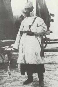 Landwehr-Soldat gekleidet für Winter