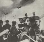 Russische Artillerie und Flieger