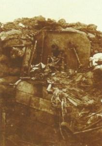 zerstörte deutschen Maschinengewehrstellung