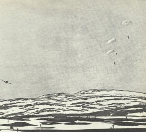 deutsche Fallschirmjaeger springen bei Narvik ab